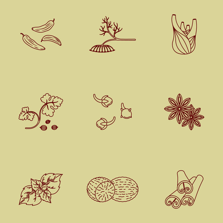 Spices set of linear icons. Vector image