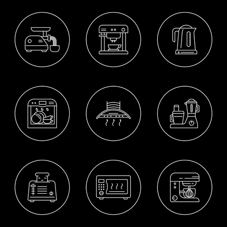 Kitchen utensils and household appliances linear icons