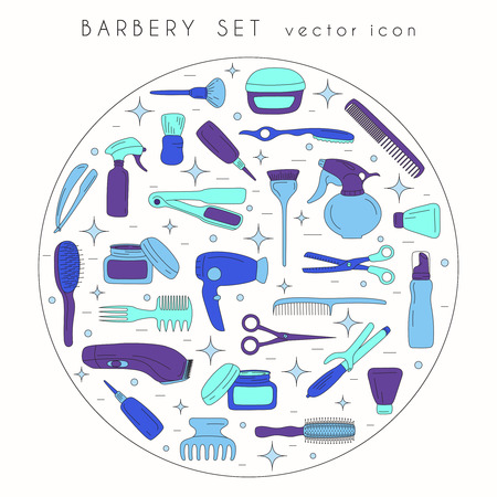 Barbershop collection isolated on white backdrop. Vector icons