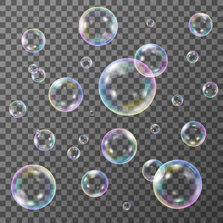 Soap bubbles on transparent background, vector set