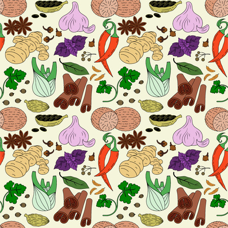 Spices seamless pattern of colored icons. Vector image