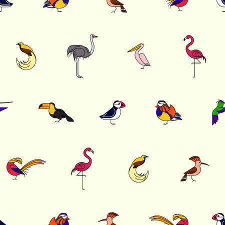 Birds are different species, seamless pattern