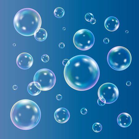 Bulles de savon sur fond bleu, set vector