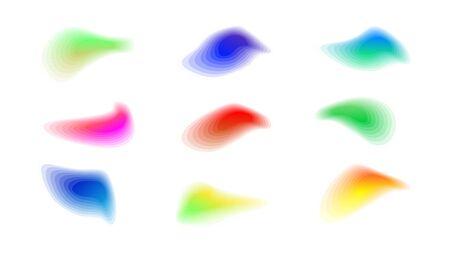 Vivid color gradient shapes. Blurred vibrant set Vecteurs
