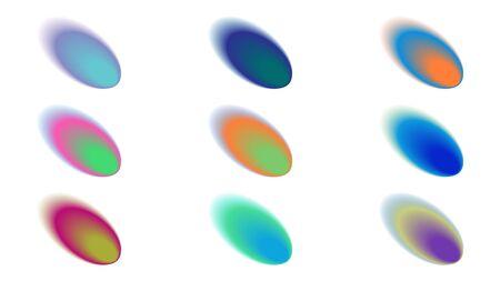 Formes de dégradé de couleurs vives. Ensemble vibrant flou