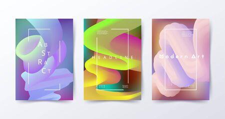 Bunte flüssige Hintergründe. Abstrakte flüssige Formen. Modernes Design für Flyer