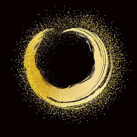 pociągnięcie pędzla złota okrągła ramka na czarnym tle