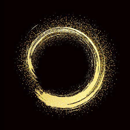 brush stroke golden round frame on black background