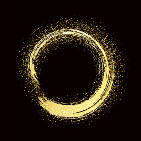 pennellata cornice rotonda dorata su sfondo nero