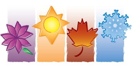 Chacune des quatre saisons est représentée dans une peinture de style