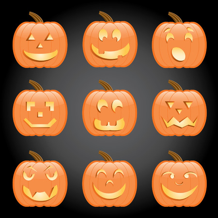 Nine jack-o-lanterns, each with a different expression; perfect for any Halloween project Illustration