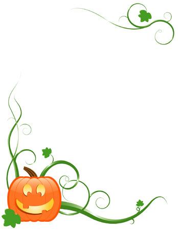 Jack-o-lantern with vines and leaves Ilustracja