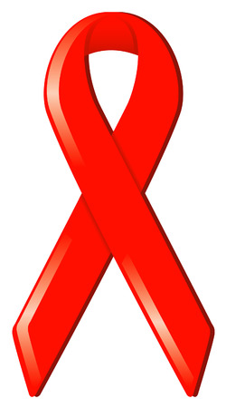 Red satin awareness ribbon, symbolizing research for AIDSHIV, love, and substance abuse awareness