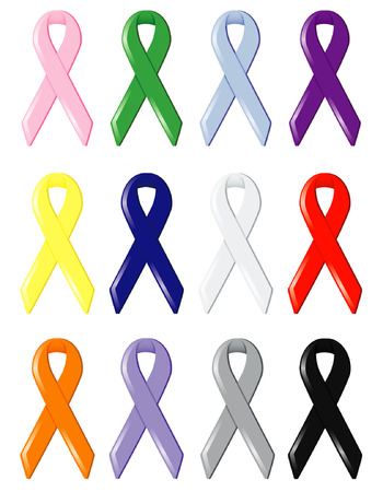 Twelve satin awareness ribbons, symbolizing support of various causes and finding cures for cancers and disease