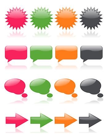 burbujas de pensamiento: Colorido, brillo iconos web; incluye burbujas de pensamiento Vectores