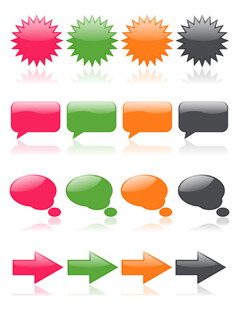 Colorful, glossy web icons; includes thought bubbles