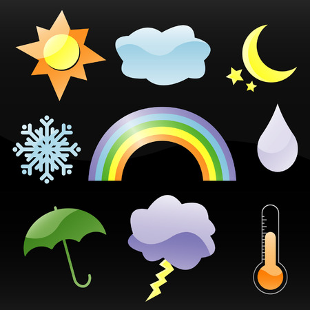 Colorful glossy weather icons, including rainbow Ilustracja