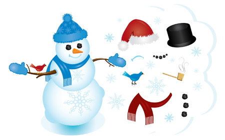 Build your perfect snowman with the interchangeable pieces! 免版税图像 - 2042823