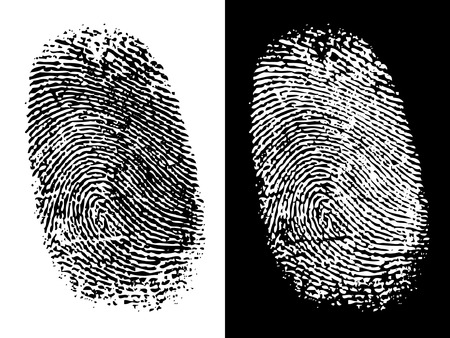 Two thumbprints; one black on white, the other white on black