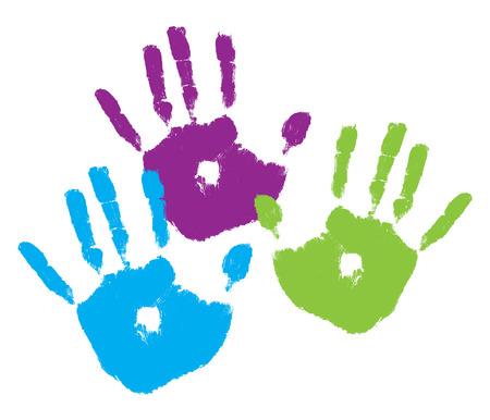 Three kids' handprints in bright colors