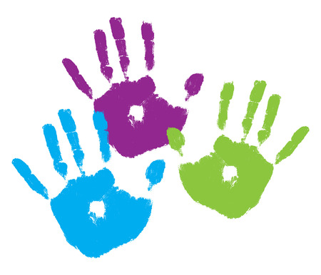 Three kids handprints in bright colors