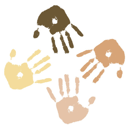 asian and indian ethnicities: Four handprints in different skin tones representing culture and diversity