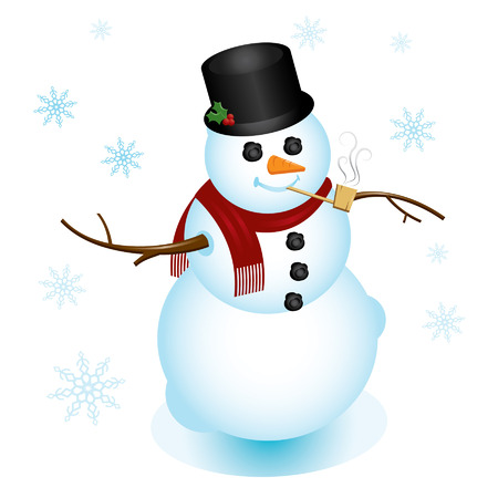 top hat: Classy snowman, dressed up with top hat and pipe