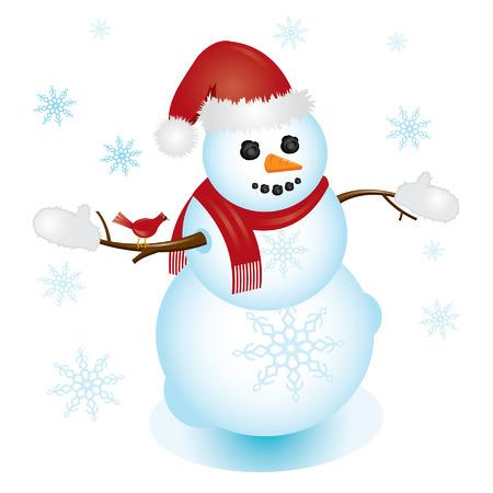Santa snowman with cardinal sitting on his arm 矢量图像