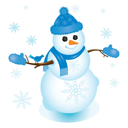 Snowman dressed in fuzzy blue mittens and hat with blue jay on his arm