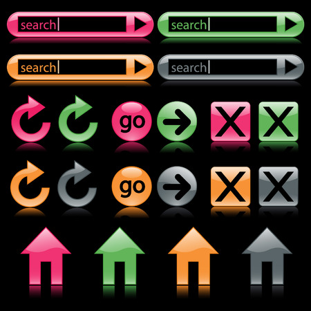 Colorful glossy web buttons reflected on black, including search and home buttons Vector