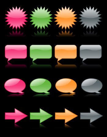 Colorful glossy web icons reflected on black, including speech bubbles