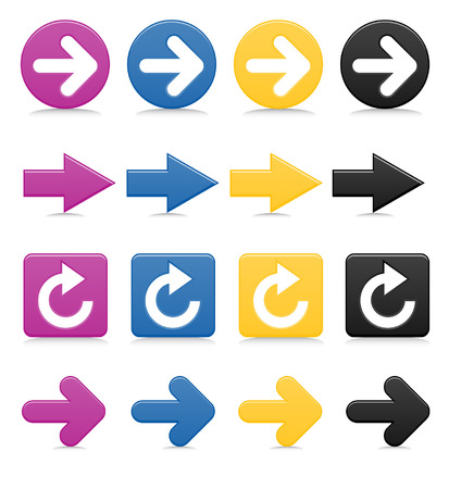 Smooth-style, brightly colored arrows, complete with drop shadows Vector