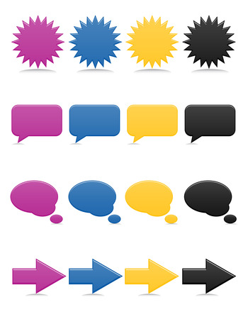 Smooth-style, brightly colored web icons, including thought and speech bubbles
