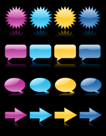 Brightly colored web icons reflected on black; includes thought & speech bubbles