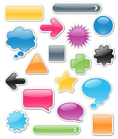 Collection of brightly colored, glossy web elements including: arrows, search bars, speech and thought bubbles. Perfect for adding your own text or icons. Blends used to create drop shadow effect; drop shadows on separate layer. Vector