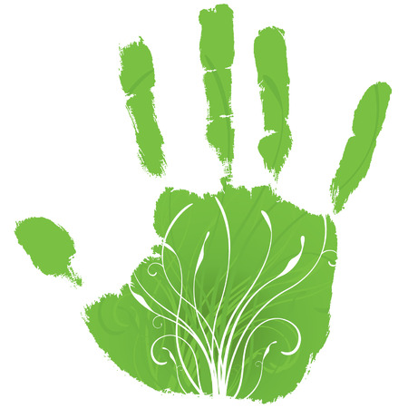 Green hand giving life to decorative floral growth; green concept. Illustration