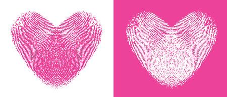 empreinte du pouce: Deux empreintes cute coeur, une rose et une blanche