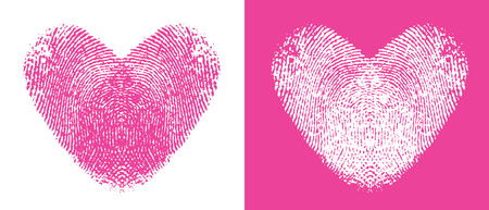 Two cute heart thumbprints, one pink and one white 矢量图像