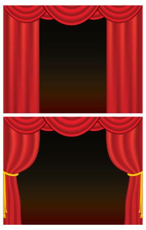 赤いベルベット劇場カーテン、戻る黄金ロープで描かれた 1 つのセット。(ロープのブレンドを使用します。グラデーション メッシュを格納します。