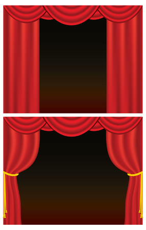 Red velvet theater curtains, one set drawn back with golden rope. (Rope uses blends. Contains gradient mesh.) Ilustração