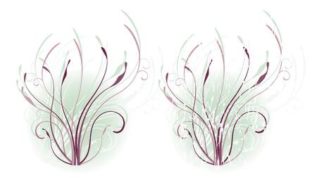 Kronkelende wijn stokken in de aubergine en Lavendel tonen op een blauwe achtergrond misty, zachte. (Grunge is op een afzonderlijke laag in vector bestand.)
