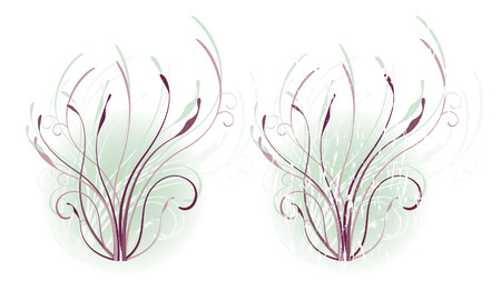 Swirling vines in eggplant and lavender tones on a misty, soft blue background. (Grunge is on separate layer in vector file.)