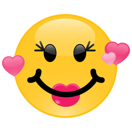 Girl smiley in love with pink hearts  Vector