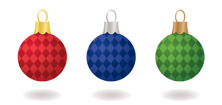 Checkered Christmas Ornaments 免版税图像 - 3891211