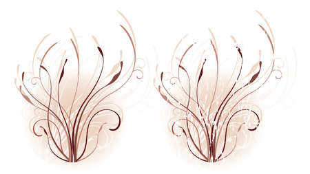 Swirling vines in walnut and mahogany tones on a misty, blush-colored background, one with grunge