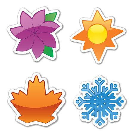 4 개의 광택 스티커 아이콘, 사계절 반영 일러스트