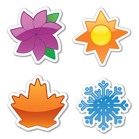 quatre saisons: Quatre ic�nes autocollant glac�, refl�tant les quatre saisons