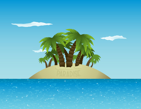 Tranquil tropical island in the midst of a sparkling ocean