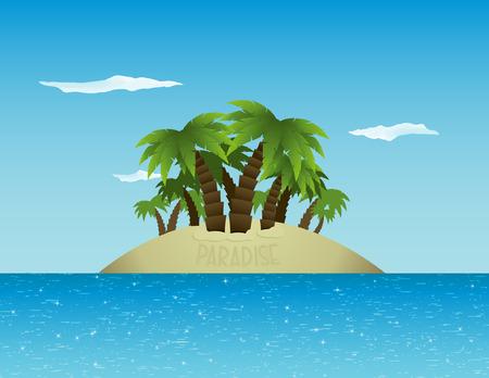 輝く海の真っ只中の静かな熱帯の島