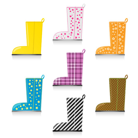 Seven shiny rainboots, original yellow and six patterned pairs Çizim